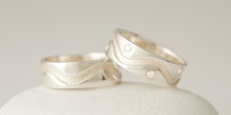 8 Stone Inset Silver Wave & Plain Silver Wave