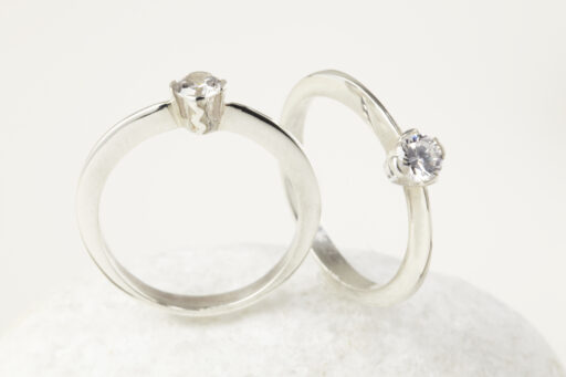 Fairtrade Gold Engagement ring - 4 Claw Set Solitaire Wave Ring