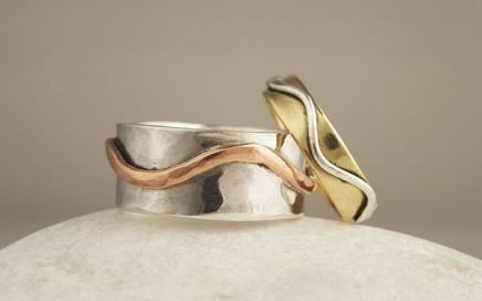 Silver Copper Gold and Silver rings wedding rings