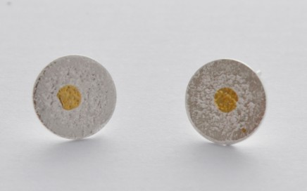 textured studs with gold dot