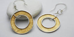 Recycled Silver textured Hoop dangly earrings with 24ct gold plate on the textured surface